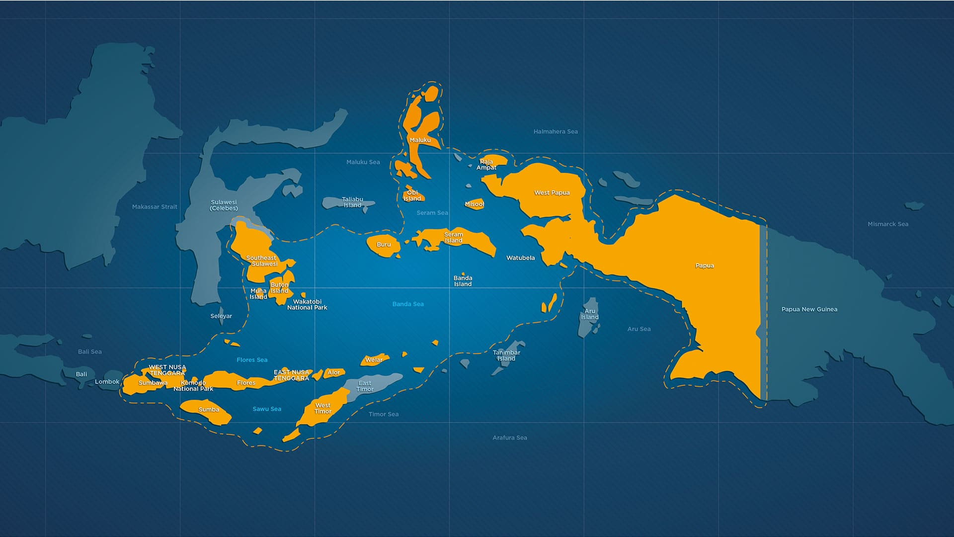 Map of East Indonesia from Bali to Papua